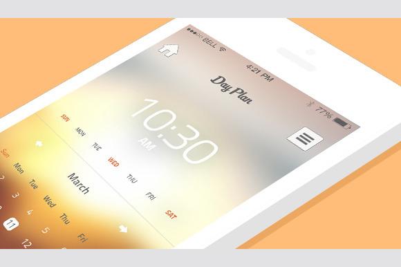 calendar iphone app template templates on creative market. Black Bedroom Furniture Sets. Home Design Ideas
