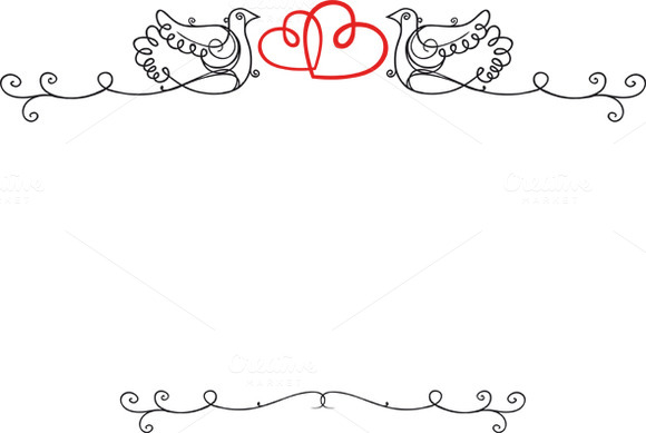 Vintage wedding frame with doves ~ Illustrations on Creative Market