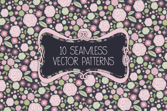 Seamless rose and shabby chic patterns - Patterns - 1