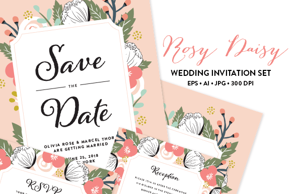 Rosy Wedding Invitation EPS & JPG - Invitations - 1