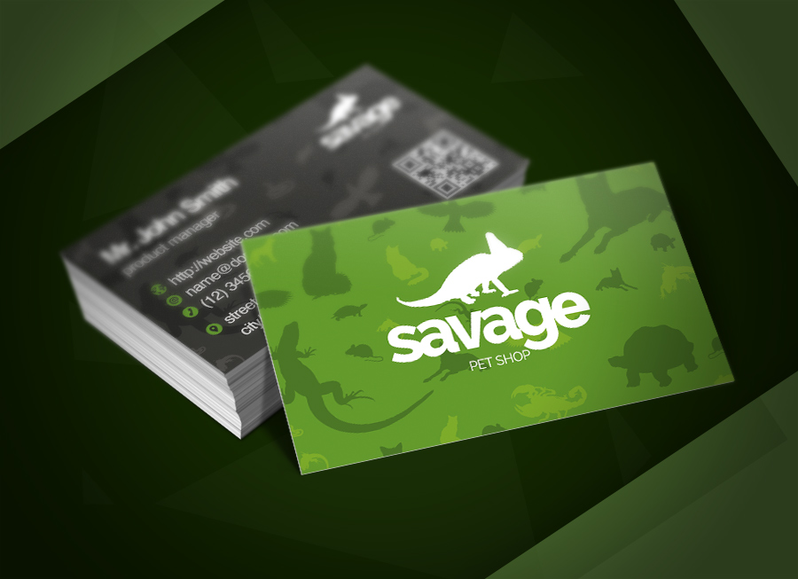 Savage pet shop business card business card templates on for Pet store business cards