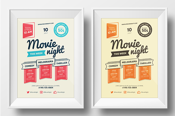 movie night poster template flyer templates on creative market. Black Bedroom Furniture Sets. Home Design Ideas