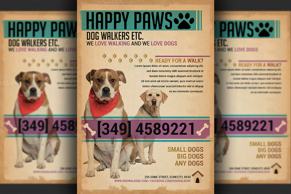 Dog walkers flyer template flyer templates on creative for Dog adoption flyer template