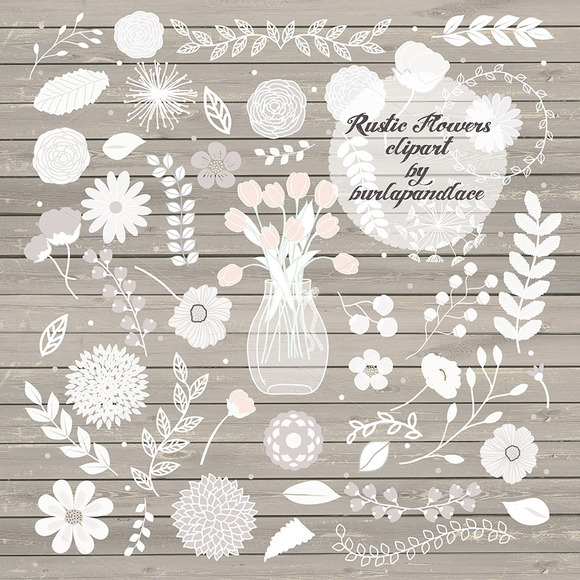 Rustic Flowers Clipart Illustrations On Creative Market