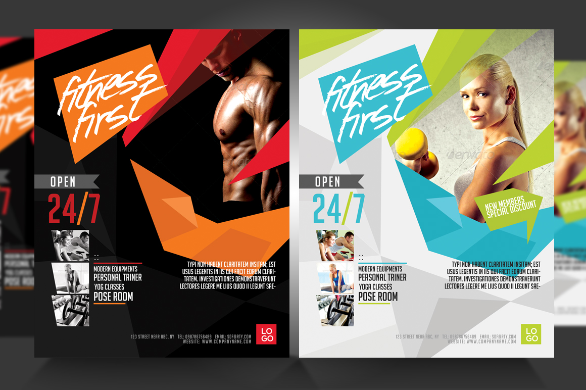 Fitness flyer gym flyer v3 flyer templates on creative for Fitness brochure template