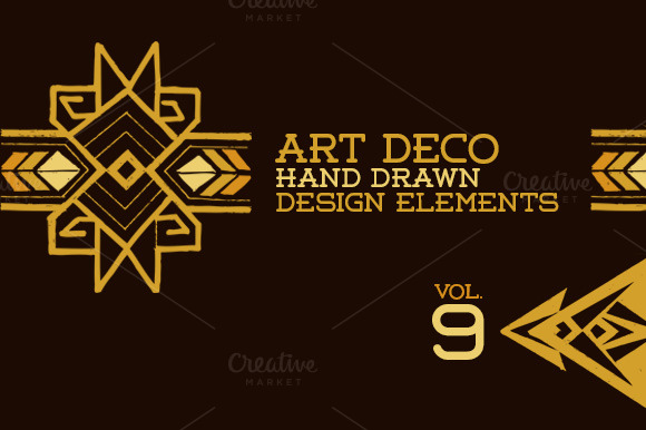 43 hand drawn art deco elements vol9 illustrations on for Deco 5 elements