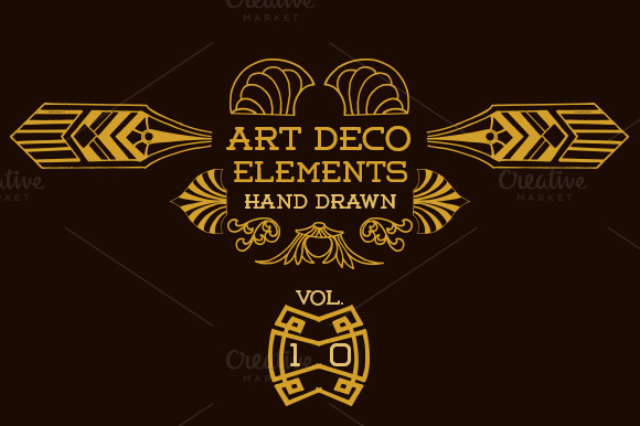 42 art deco elements vol 10 illustrations on creative market - Deco vol ...