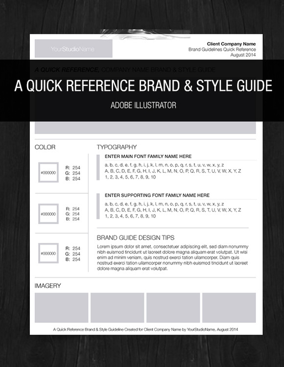 brand style one page guideline logo templates on creative market. Black Bedroom Furniture Sets. Home Design Ideas
