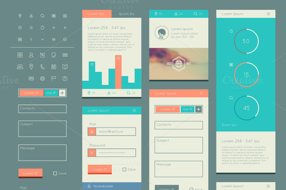 flat ui kit for web and mobile web elements on creative market