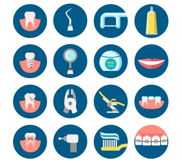 Dental Clinic Services Flat Icons