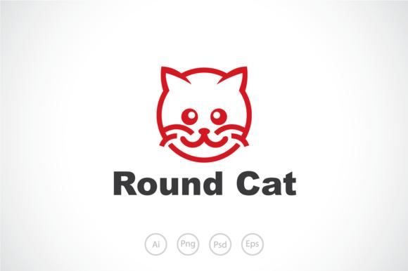 Round Cat Logo Template
