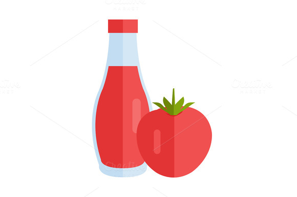 Bottle With Sauce Flat Design