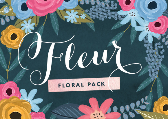 fleur watercolor assets from creative market