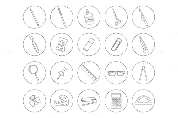 Stationery Tools 20 Icons Vector