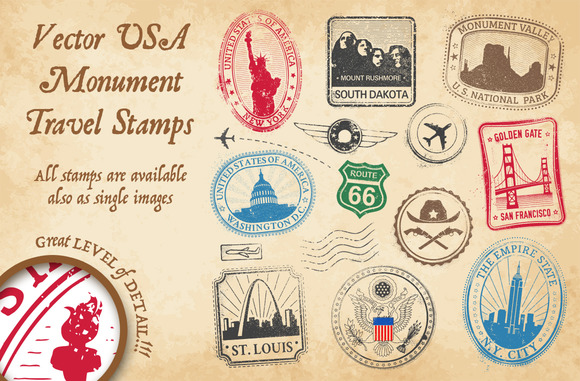 US Monument Vector Travel Stamps 3