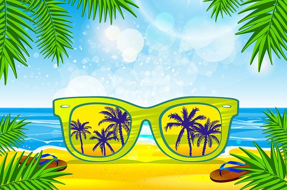Vector Summer Beach Sunglasses