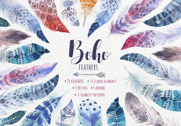 Bohemian watercolor feathers. Tribe  - Illustrations