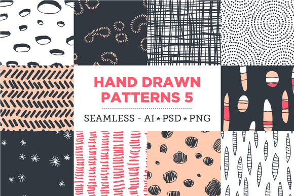 10 Seamless Hand Drawn Patterns v.5 - Patterns