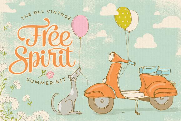 Free Spirit Vintage Summer Kit ~ Illustrations on Creative ...