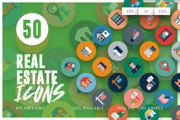 50 Real Estate Icons-Graphicriver中文最全的素材分享平台