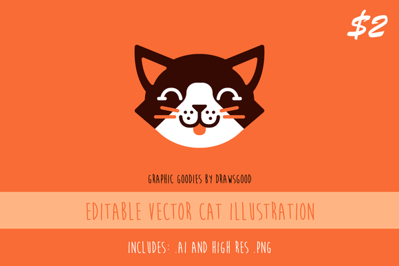 Editable Vector Cat Illustration - Illustrations