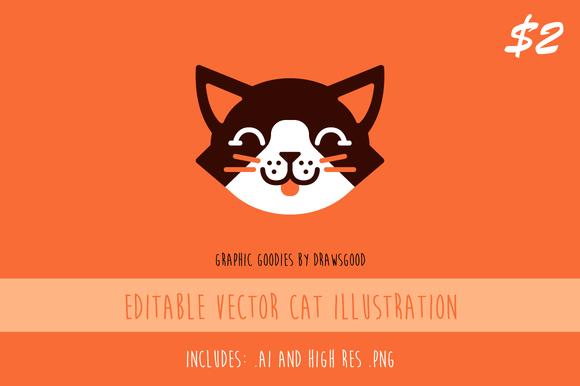 Editable Vector Cat Illustration - Illustrations