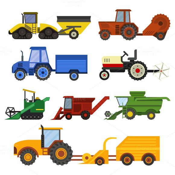 Harvester Machine Vector Set