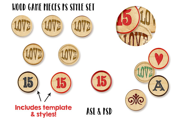 Wood Game Pieces PS Styles Bonus
