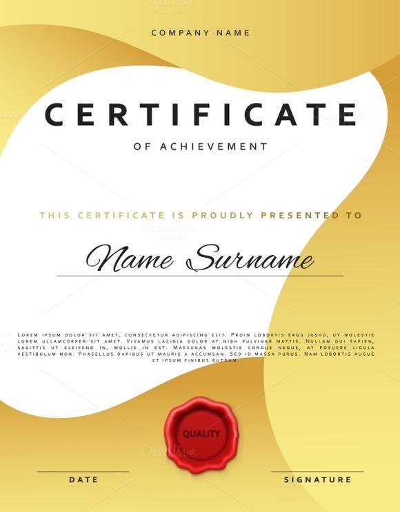 Certificate Design In Gold Color