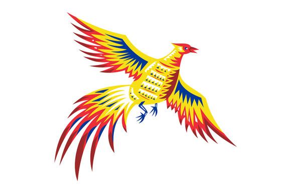 Pheasant Bird Fowl Flying Retro