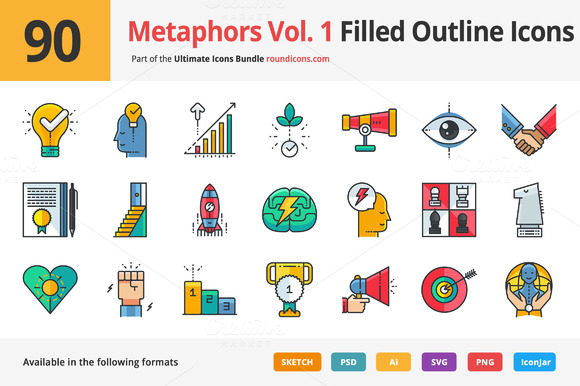 90 Metaphors Vol. 1 Filled Icons - Icons