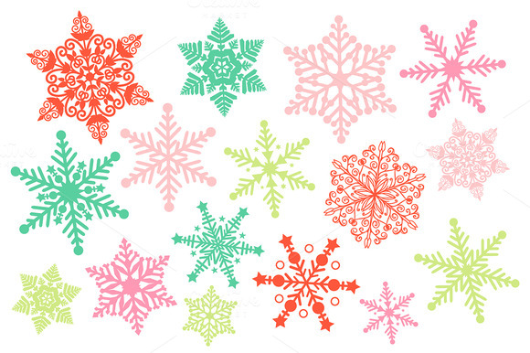 Christmas snowflake clipart illustrations on creative market