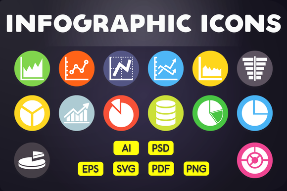 Flat Icon Infographic Icons