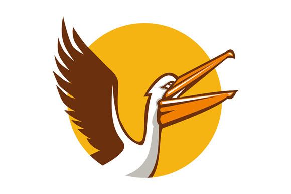 Pelican Flying Up Circle Retro