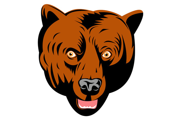Grizzly Brown Bear Head Facing Front