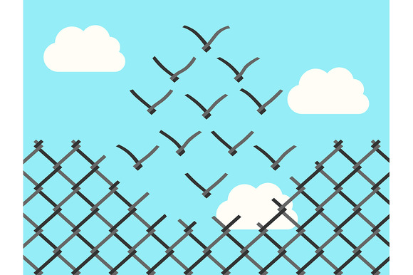 Wire Mesh Birds Flying