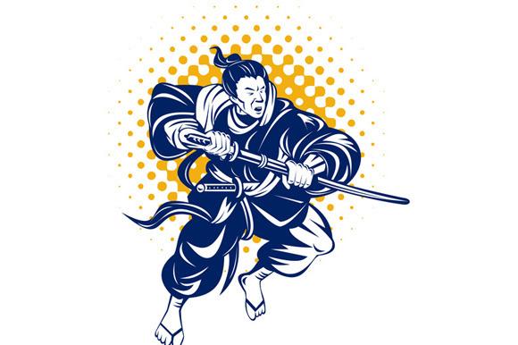 Japanese Samurai Warrior Fighting