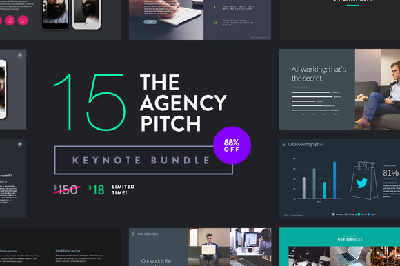 The agency pitch keynote bundle presentation templates for Agency pitch template