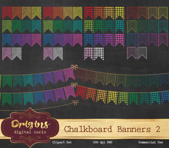 Chalkboard Rainbow Bunting Banners