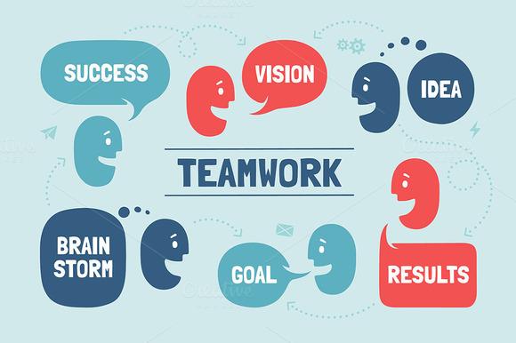 Teamwork. Team people & cloud talk - Illustrations