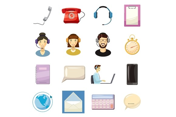 Call Center Icons Set Cartoon Style
