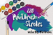 220 Paintbrush Strokes-Graphicriver中文最全的素材分享平台