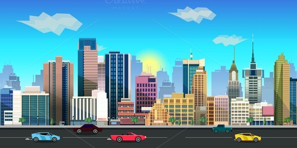 2d City Background