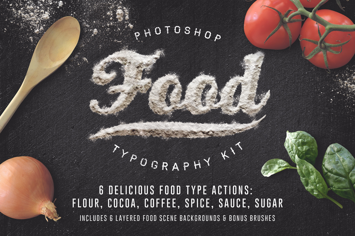 Food Typography Psd Actions Actions On Creative Market
