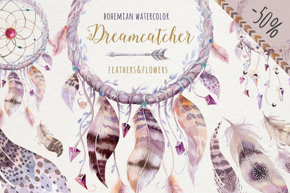 Watercolor dreamcathers II. Bohemian - Illustrations