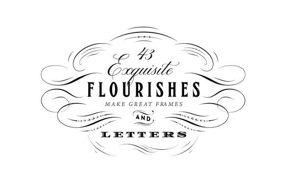 43 Calligraphic Flourishes Bundle Illustrations On