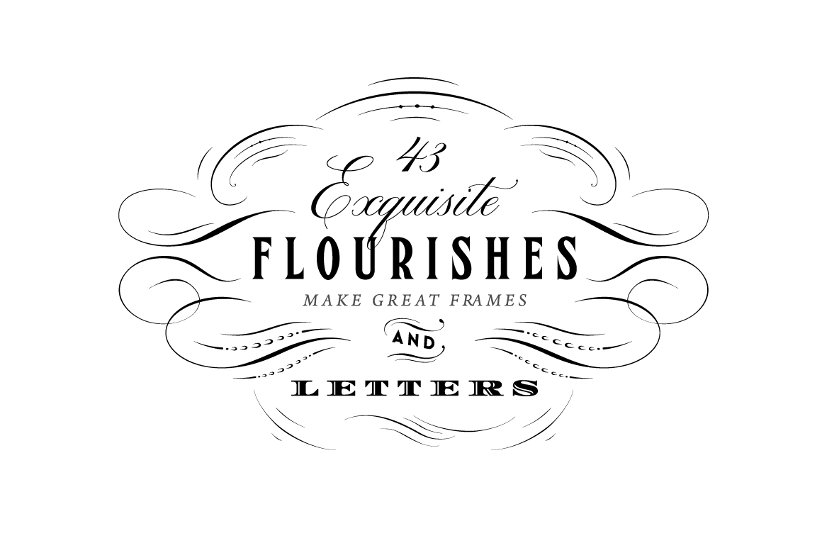 43 Calligraphic Flourishes Bundle Illustrations On