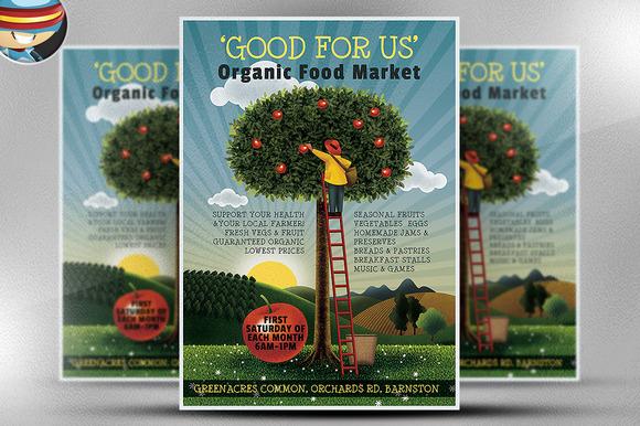 Organic Food Market Flyer Template ~ Flyer Templates on ...