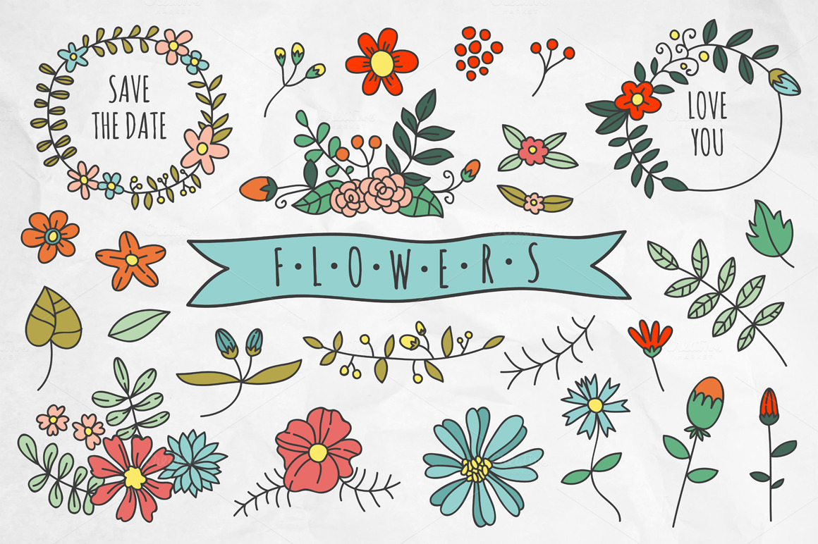 Hand drawn flowers and wreaths ~ Illustrations on Creative ...