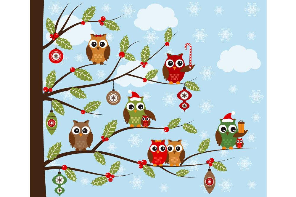 Christmas Owls Clip Art Illustrations On Creative Market